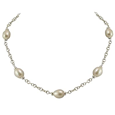 Doyenne AAA White Freshwater Pearl 18ct Gold Vermeil Chain Necklace vNWxNP6vG