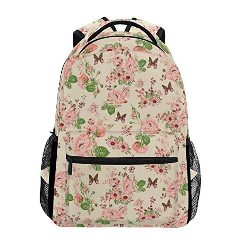Butterfly Picking Nectar from Roses Large Travel Outdoor Sports Laptop Backpack Water Resistant for Women & Men College School