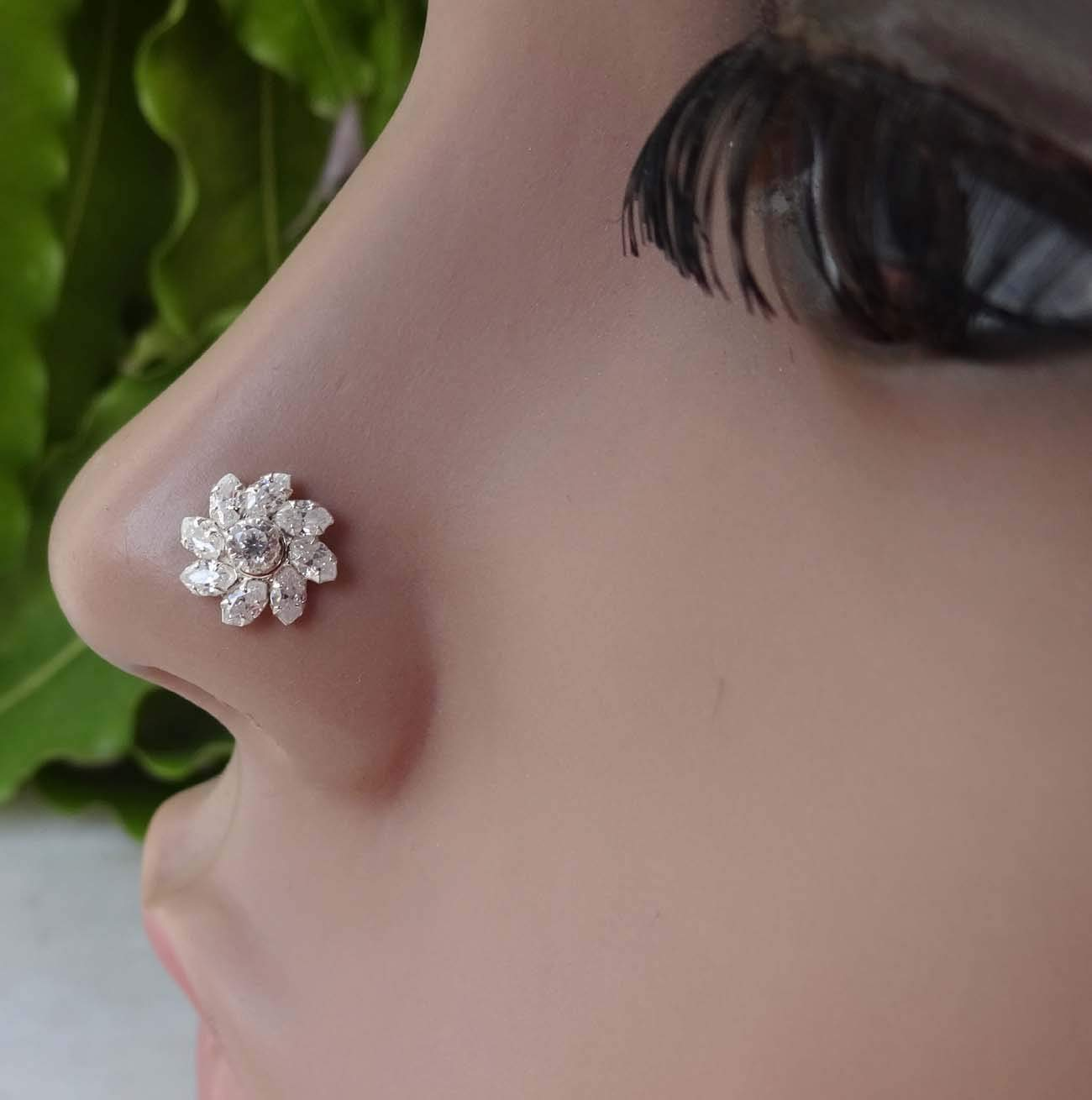 TEJ168 Indian Nose Stud,Indian Nose Hoop,Mother Day Gifts,Flower Nose Hoop,Thanksgiving Nose Pin,Diamond Nose Stud,Silver Nose Stud,Crock Screw Nose Stud,Nose Stud,Cubic Zirconia Nose Stud