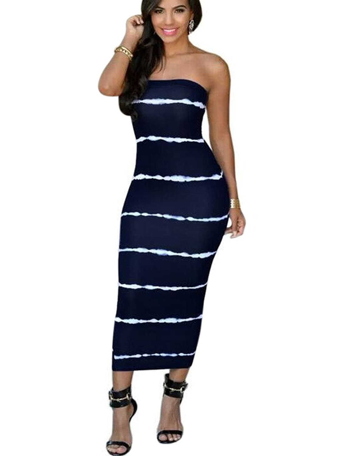 Aro Lora Women's Strapless Bodycon Stripe Bandage Party Midi Dress