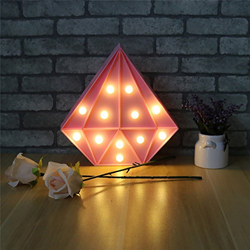 CSKB Unique Diamond LED Night Light Lamp for Kids Children Diamond Marquee Sign Decorative Night Lights Table Wall Bedroom Home Decoration Pink