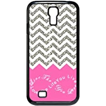 Design For You Colorful Chevron Pattern Live the Life You Love, Love the Life You Live Samsung Galaxy S4 9500 Durable Plastic Case Without Glitter