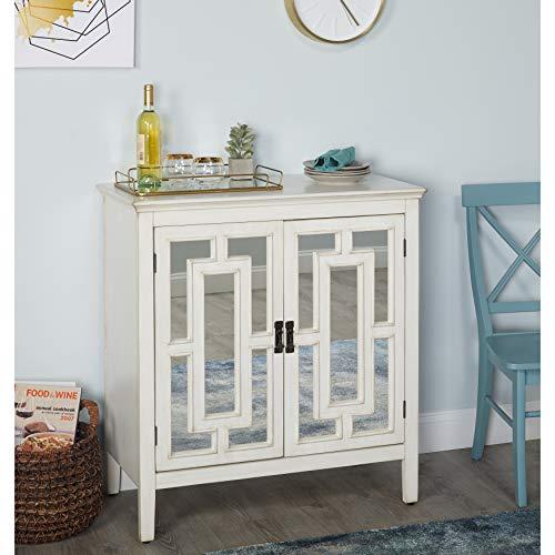 - The Mezzanine Shoppe 17308AWH Devon Mid Century 2 Door Sideboard Cabinet with Mirror, 36