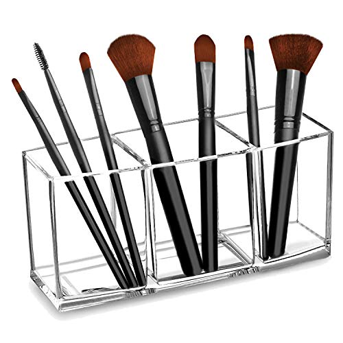 CACASO Clear Makeup Brush Organizer, Premium Acrylic Makeup Brush Holder Organizer 3 Compartments, Makeup Brush Display Holder Cosmetic Storage