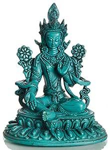 BUDDHAFIGUREN Estatua budista - Tara verde estatua - Resina 24 cm - 1,5 kg turquesa