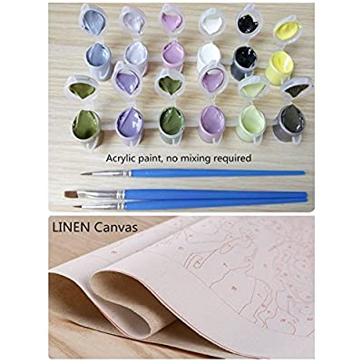CaptainCrafts New DIY Oil Painting Paint by Numbers Kit 16x20  for Adult Beginner Kids, Linen Canvas - Sad Pug (Love Donut, Frameless): Toys & Games