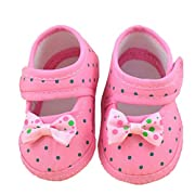 DZT1968 Baby Girl Cloth Soft Sole Round Dot Prewalker Mary Jane Shoes With Bowknot (0~6 Months, Pink)