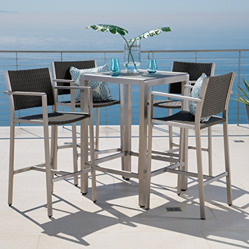 Crested Bay Patio Furniture ~ 5 Piece Outdoor Wicker and Aluminum Bar Set (Tempered Glass Table Top)
