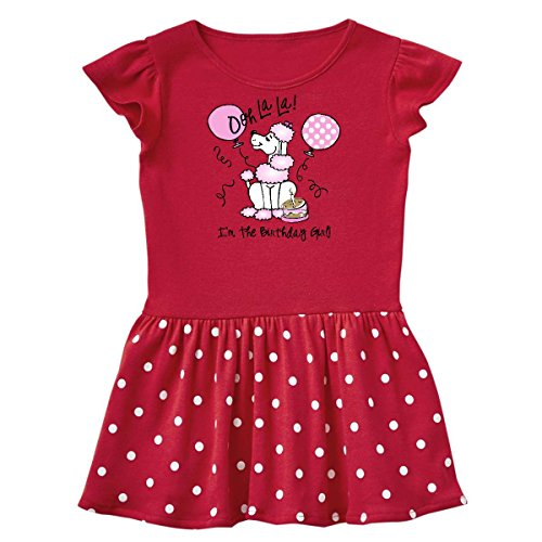 inktastic Pink Poodle Birthday Infant Dress 24 Months Red and Polka Dot (Pink Polka Dot Poodle)