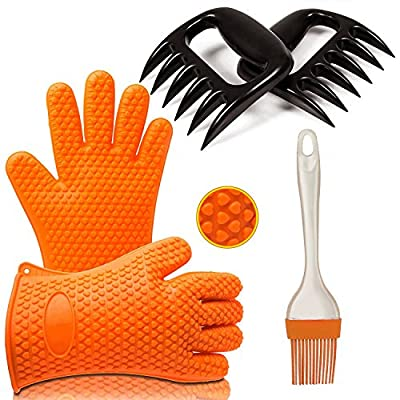Premium BBQ Tool Set by Ozetti | Includes 2 Grilling Gloves with Fingers, 2 Bear Claw Meat Shredders and 1 Silicone Brush for Cooking | BPA-Free BBQ Set, One Size Fits All, Dishwasher Safe by Ozetti