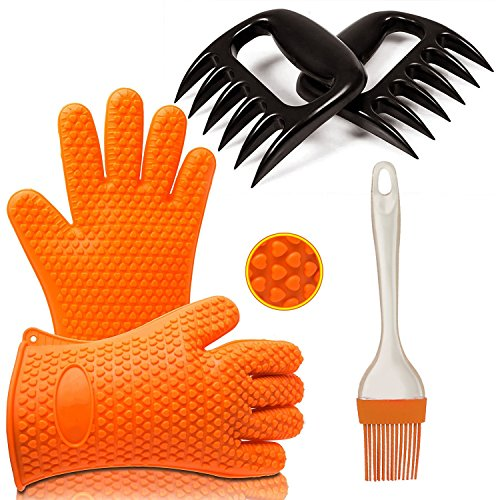 Premium BBQ Tool Set by Ozetti | Includes 2 Grilling Gloves with Fingers, 2 Bear Claw Meat Shredders and 1 Silicone Brush for Cooking | BPA-Free BBQ Set, One Size Fits All, Dishwasher Safe