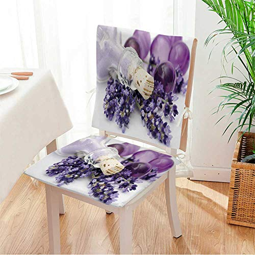 Miki home Chair Cushion (Set of 2) Lavender spa Includes Seat and Backrest Mat:W17 x H17/Backrest:W17 x H36