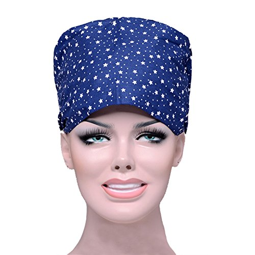 Opromo Womens Mens Scrub Cap With Adjustable Tie Sweat Bleach Friendly Hat Cap Blue Star