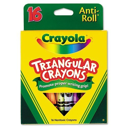 Crayola Products - Crayola - Triangular Crayons, Assorted, 16/Box - Sold As 1 Box - Triangular shape ensures that crayons won't roll away or off surfaces. - Features Anti-Roll benefit. (Crayola Triangular Crayons)