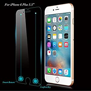 QPAU Tempered Glass Screen Protector for Apple iPhone 6/6S Plus - Smart 5.5 Inch