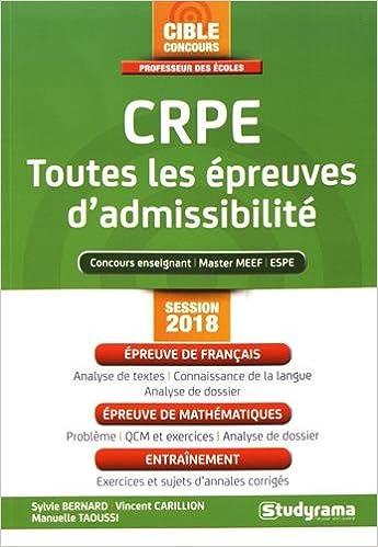 Crpe - Toutes les Épreuves dAdmissibilite (French) Paperback