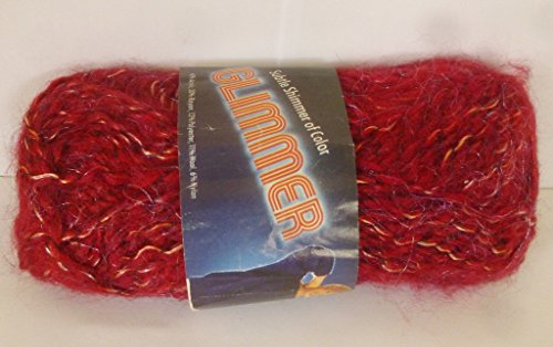 Caron Glimmer Ruby (Dark Red) Fancy Worsted Weight Yarn (Caron Chunky)