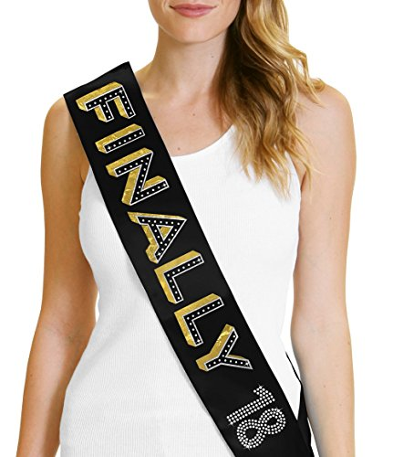 Finally 18 Gold Foil Women's Sash 18th Birthday Party Decorations & Supplies (18th Bday Decorations)