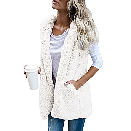 Creazy® Womens Vest Winter Warm Hoodie Outwear Casual Coat Faux Fur Zip Up Sherpa Jacket (XL, white)