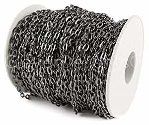 CleverDelights Cable Chain Spool - 150 Feet - Gunmetal (Dark Silver) Color - 4x6mm Link - Bulk Rolo Chain
