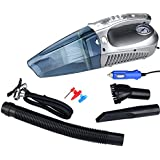 Sminiker Handheld Car Vacuum Cleaner 12volt Car Vac Wet Dry DC 60W,With Multi-functions of Tire Inflator Pump 150 PSI Air Compressor ,Tire Pressure Gauge and LEDs light(Silver Colour)