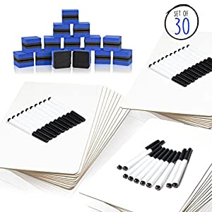 Dry Erase Lap Boards Classroom Pack of 30 Small Whiteboards for Students - 30 Felt Erasers and 30 Black Dry Erase Markers
