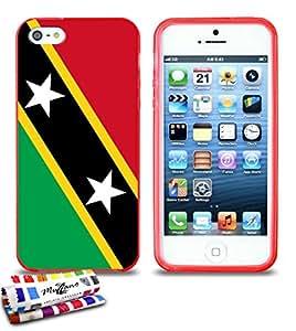 Carcasa Flexible Ultra-Slim APPLE IPHONE 5 de exclusivo motivo [Bandera Kitts y Nevis Santo] [Roja] de MUZZANO  + ESTILETE y PAÑO MUZZANO REGALADOS - La Protección Antigolpes ULTIMA, ELEGANTE Y DURADERA para su APPLE IPHONE 5