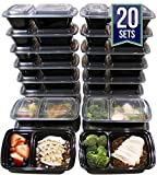 [20 Pack] 32 Oz. 2 Compartment Meal Prep Containers Durable BPA Free Plastic Reusable Food Storage Container Microwave & Dishwasher Safe w/Airtight Lid For Portion Control & Bento Box Lunch Box