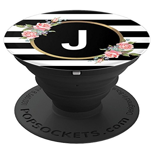 Floral Letter J Monogram - Black and White Stripes & Flowers - PopSockets Grip and Stand for Phones and Tablets