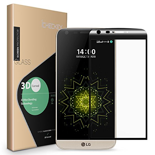 2-Pack LG G5 Screen Protector, Icheckey Premium 9H Hardness 3D Curved Full Coverage Tempered Glass Screen Protector Cover for LG G5-Black [Easy Bubble-Free Installation]