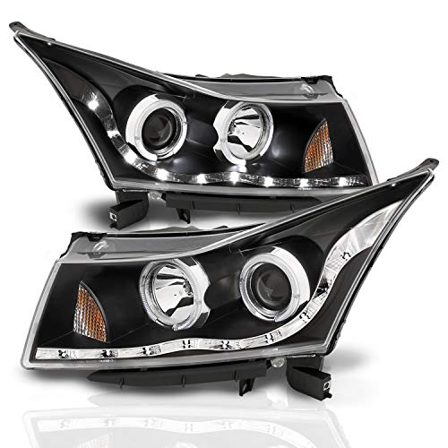 AmeriLite Projector Headlights Halo Black (Led Eyebrow Design) for Chevy Cruze - Passenger and Driver Side
