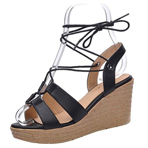 Passionow Women's Open Toe Crisscross Straps Lace-Up Tie Open Toe Platform Wedge Heel Sandals (8 B(M)US,Black)