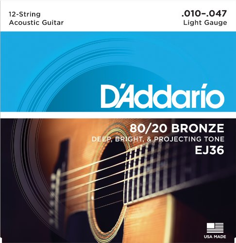 D'Addario EJ36 12-String Bronze Acoustic Guitar Strings, Lig