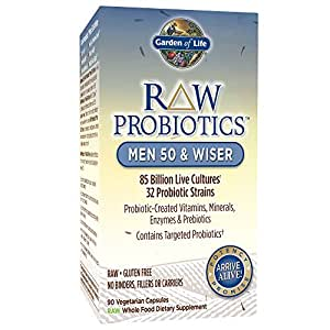 Garden of Life - RAW Probiotics Men 50 & Wiser - Acidophilus and Bifidobacteria Probiotic-Created Vitamins, Minerals, Enzymes, and Prebiotics - Gluten Free - 90 Vegetarian Capsules