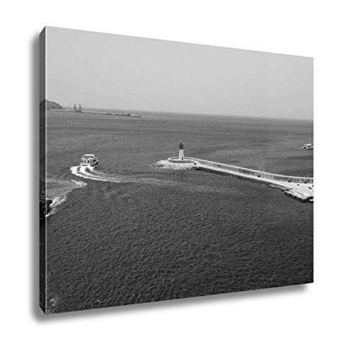 Ashley Canvas Exit From Bay And Beacon Cartagena Spain, Home Office, Ready to Hang, Black/White 20x25, AG6519136 by Ashley Canvas