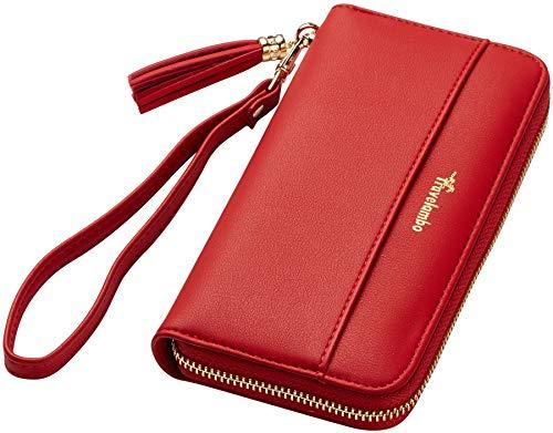 (Travelambo Womens Wallet Tassel Bifold Ladies Cluth Wristlet Wrist strap Long Purse (Access Red Classic))
