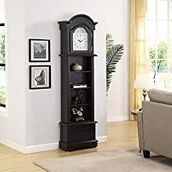 FirsTime & Co. 31065 Gears Grandfather Wall Clock, 72 x 19 x 9, Satin Black