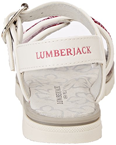 Lumberjack Lara, Sandalias con Punta Abierta Para Niñas Rosa (Fuxiawhite)