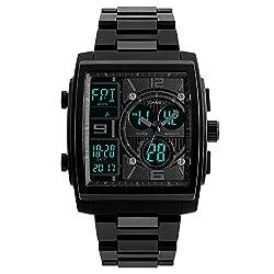 SKMEI 1274 Men's Quartz Chronograph Sport Casual Multiple Time Zone Clock Digital Dual Display Watches (black)