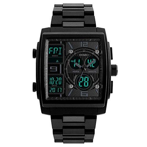 Mens Digital Watches Sport Waterproof Military Stopwatch Electronic Chronograph LED PU Band Wrist Watch
