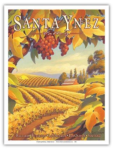 (Santa Ynez Valley, California - Santa Barbara Wine Country - Ballard, Buellton, Los Alamos, Los Olivos, Solvang - Vintage Style World Travel Poster by Kerne Erickson - Master Art Print - 9in x 12in)