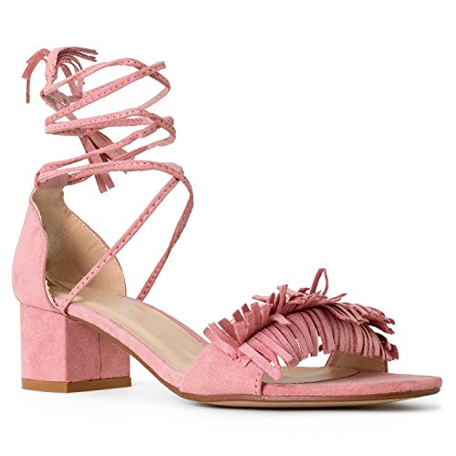 RF ROOM OF FASHION Women's Open Toe Fringe Decor Ankle Wrap Around Block Heel Sandals Pink Size.6.5 ()