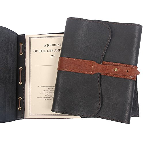 Leather Writing Journal Notebook Black Brown Refillable Unlined Pages by Col. Littleton (Image #6)