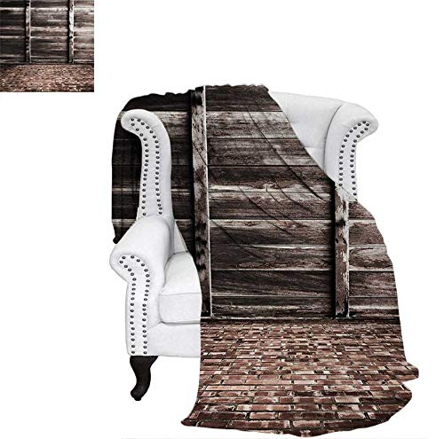 Custom Design Cozy Flannel Blanket Aged Cracked Striped Oak Boarded Plank Wall Background and Dated Brick Floor Picture Weave Pattern Blanket 80