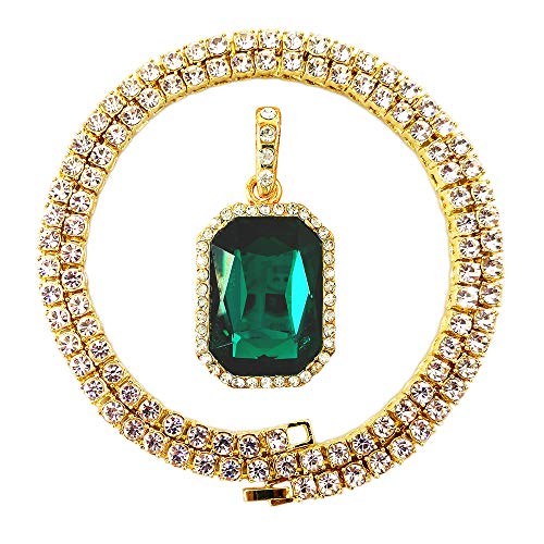HH Bling Empire Mens Celebrity Style Hip Hop Gold Synthetic Ruby Emerald Sapphire Pendant Necklace (3mm Tennis &Lab Emerald)