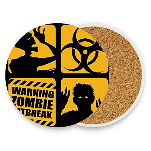 (BeautyToiletLidCoverABC Toxic Sign with Outbreak Warning and Monster Silhouettes Bicolor Illustration Coaster for Drinks,Wallpaper Ceramic Round Cork Table Cup Mat Coaster Pack Of 1)