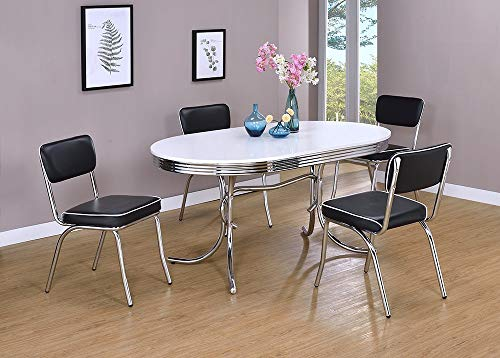 - Retro Oval Dining Table White and Chrome