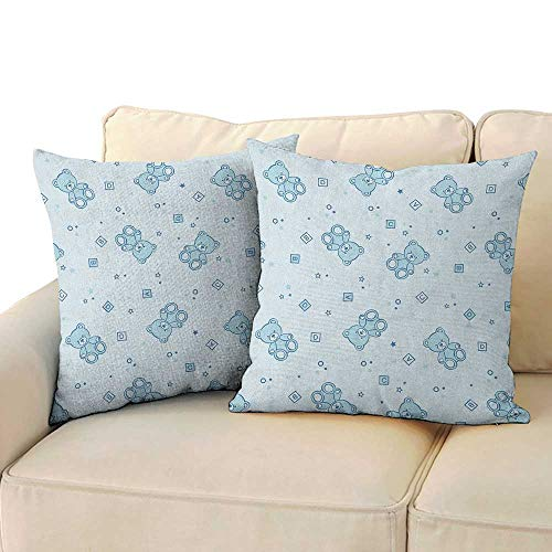 RenteriaDecor Nursery,Pillow Covers Teddy Bears and Toys with Letters on Children Imagery Baby Blue Background 16