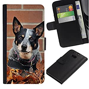 Australian Cattle Dog Black Spots - la tarjeta de Crédito Slots PU Funda de cuero Monedero caso cubierta de piel HTC One M8
