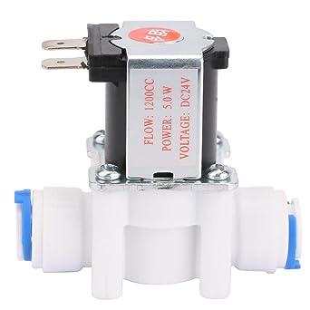 Keenso Válvula solenoide, Tipo normalmente cerrado de 24V, Válvula solenoide de aguas residuales 1200cc, Electroválvula eléctrica de conexión rápida 3/8 para ...